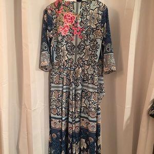 Nordstrom wrap dress with aplique, size M/L